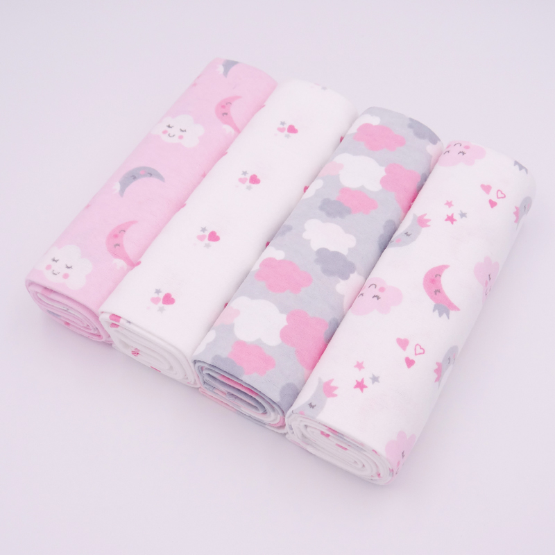 Hot!4pcs/lot 100% Cotton Flannel Baby Boys Girls Blanket Swaddling Newborn Colorful Cobertor Soft Baby Bedsheet Bedding Set