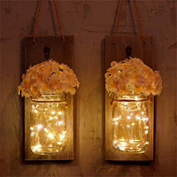 2019 Hot Sale Mason Jar Sconce Wall Decor With LED Fairy Lights Rustic Home Decor Vase 2PC Drop Shipping