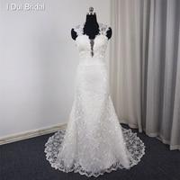 Keyhole Back Wedding Dress Sheath Lace Real Photo 2017 New Style Bridal Gown