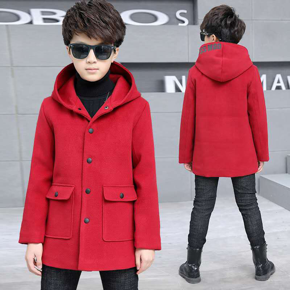 New 4-13 Yrs Hot Autumn Winter Baby Boys Kids Woolen Jackets children Solid Color Hooded Coats Outerwear Baby Boys Clothing hot sale autumn baby boys