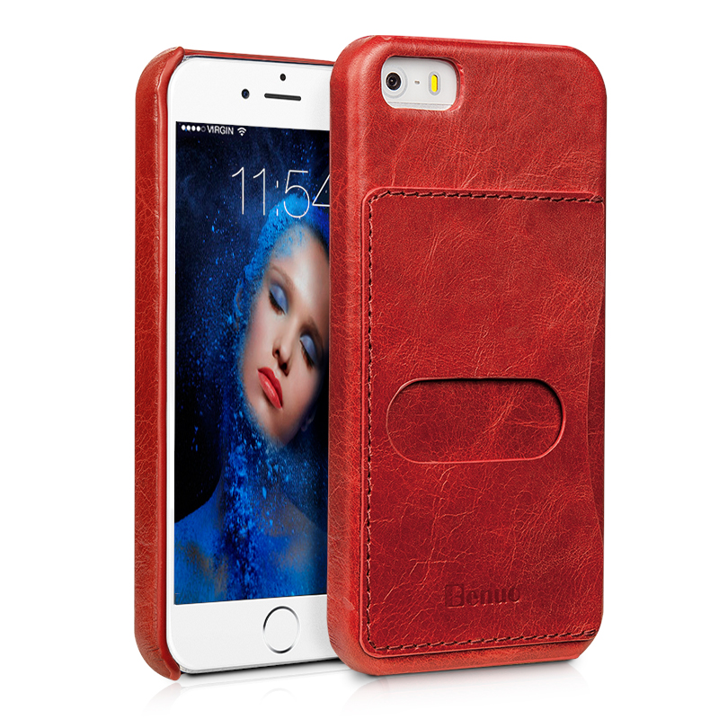 Benuo Genuine Leather Case For iPhone SE 5 5S Back Cover Vintage Series 1Card Slot Slim