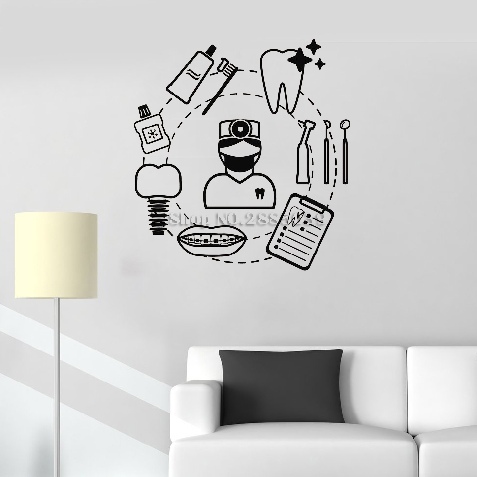 New Dental Care Dentist Wall Sticker Decal Art Vinyl Teeth Tools Mural Home Decor Art Wall Tattoo Modern Bathrooom Decals LC300(China)