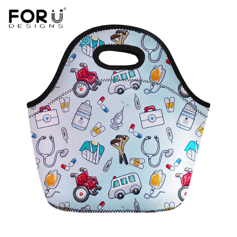 FORUDESIGNS Travel Insulated Lunch Bags Women Cute Cartoon Nurse Print Neoprene Food Case School Cooler Warm Large Box For Kids