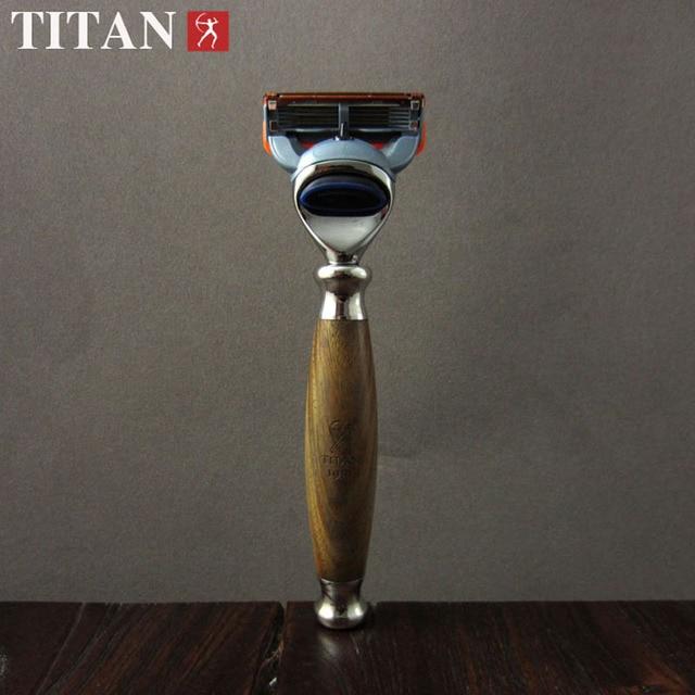 5 Layers Shaving Razors Men Titan Manual Replaceable Cassettes Blades Shaver Natural Wood Handle Chrome Razor Holder