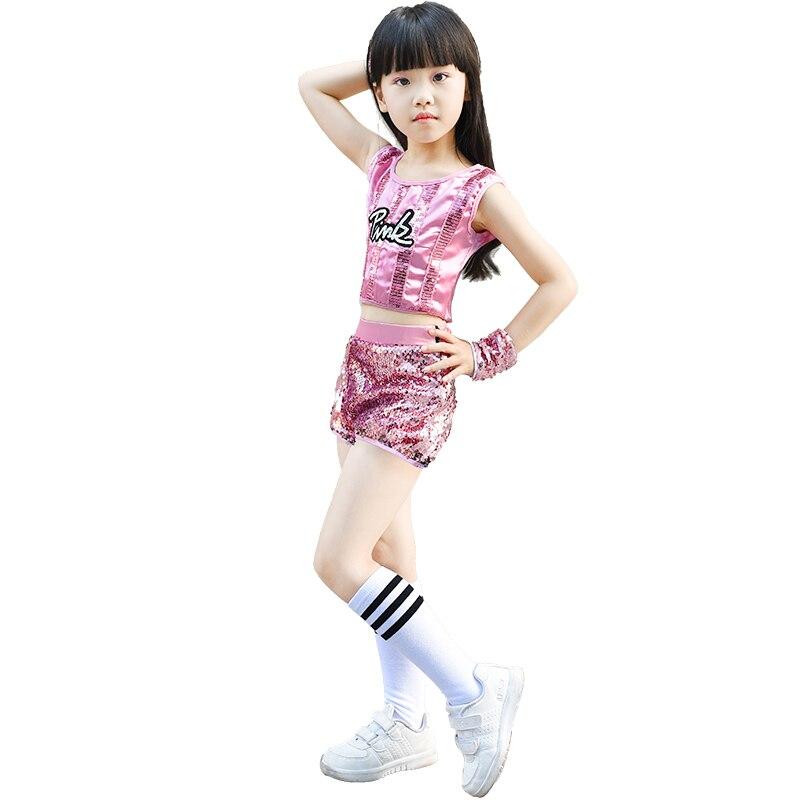 Pink Blue Kids Sequin Children Jazz Modern Dance Street Wear Performance Suit Girls Chorus Group Uniforms Stage Wear
