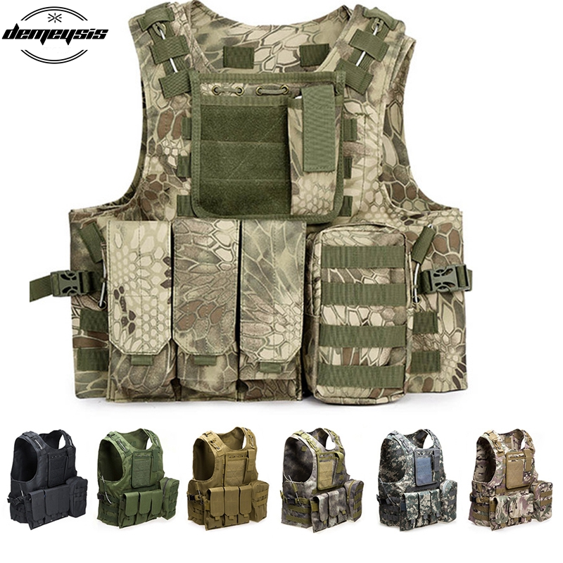 Tactical Vest Hunting Military Equipment Molle Vest Combat Armor Camouflage Vest for Airsoft Militar Vest top quality 1000d military vest airsoft tactical equipment hunting molle combat vest hunting gear police clothes
