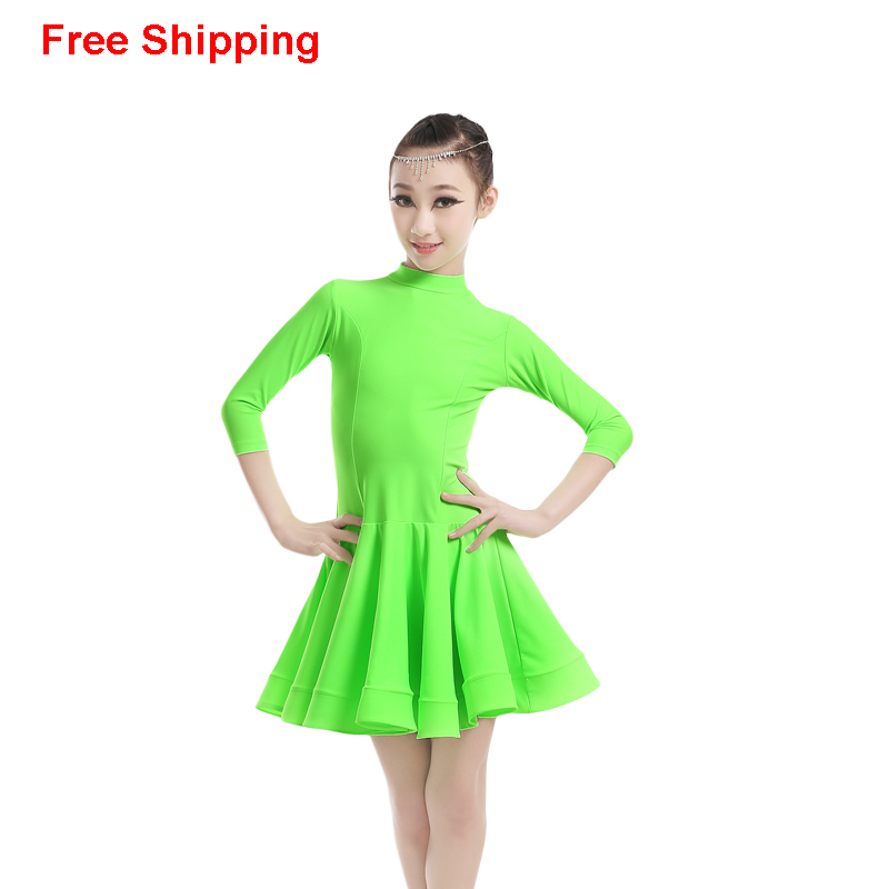 ᗚProfessional Girls Children Kids Ballroom Dance Costumes 3/4 Long ...