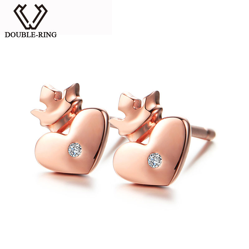 DOUBLE-R Real 0.01ct Diamond Heart Stud Earrings for Women 925 Sterling Silver Rose Gold Earrings Romantic Heart Jewelry семена rose heart 988