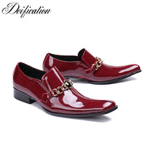 Deification Red Wine Formal Derby Man Dress Shoes Square Toe Male Business Elegant Luxury Men Wedding Party