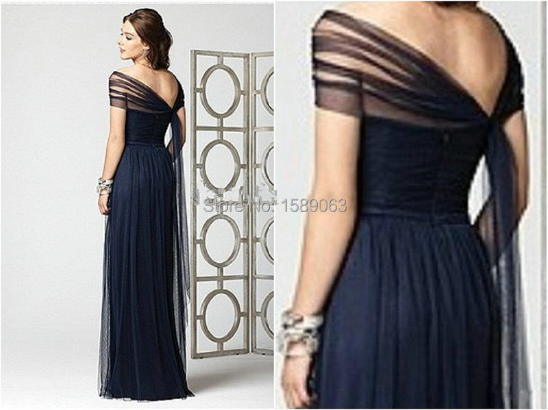 2015 New Arrival Dark Navy Bridesmaid Dresses Stretch Tulle Cap ... fcaf9fb54a26