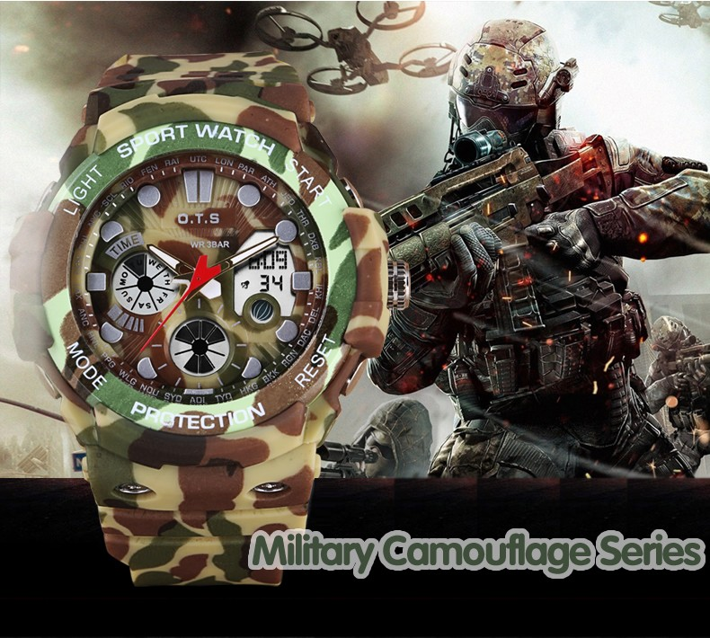 Men Watches Top Brand OTS Military Army Sports Outdoor Silicone Waterproof LED Digital Watch Male Man Clock relogio masculino