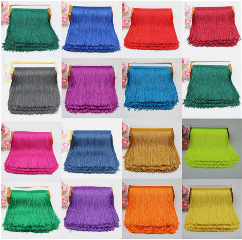 1 Meter 20cm Long Fringe Lace Tassel Polyester Lace Trim Ribbon Latin Dance Skirt Curtain Fringes For Sewing