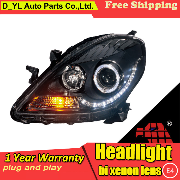Car Styling For Nissan Sunny headlights 2011 2012 Sunny led headlight Head Lamp led drl projector