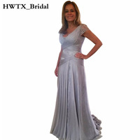 2018 Long Mother Of The Bride Dresses Plus Size Cap Sleeve Elegant Lace Pleated Chiffon Groom Mother Dress Wedding Party Gowns