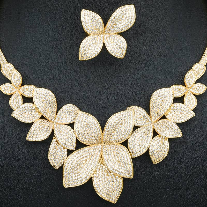 높은 품질 럭셔리 두바이 여성을위한 3 톤 구리 펜던트 목걸이 팔찌 귀걸이 반지를 남겨주세요 결혼 약혼 보석-에서보석 세트부터 쥬얼리 및 액세서리 의  그룹 3