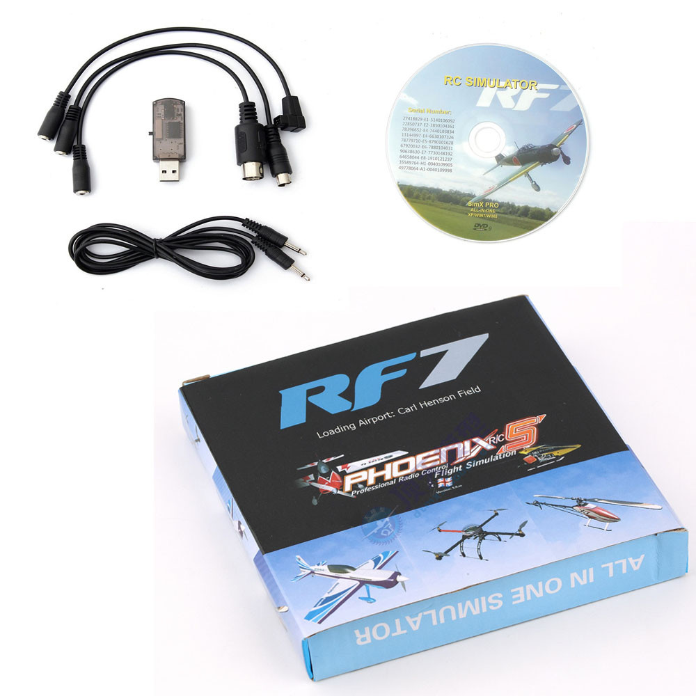 2017 RF7 22 in 1 RC USB Flight Simulator Set Fit for XTR G5 G6 G7 AeroFly PhoenixRC Dropship Y1111 22 in 1 rc usb flight simulator cable for realflight g7 g6 g5 g4 g3 5 phoenix 5 0 xtr fms aerofly