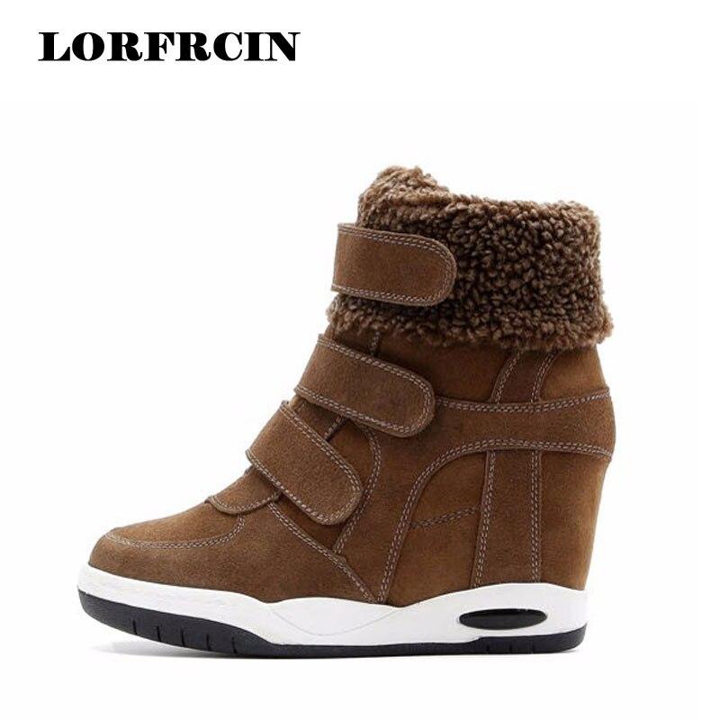 2018 nouvelles chaussures d'hiver chaussures en daim de vache femmes bottes à talons cachés femme chaussures décontractées compensées bota feminina LORFRCIN