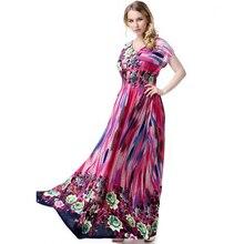0247e695678 6xl 7XL длинные пляжное платье Летний стиль плюс Размеры Костюмы богемное  платье принт Платья для женщин Очаровательная Грейс ле.