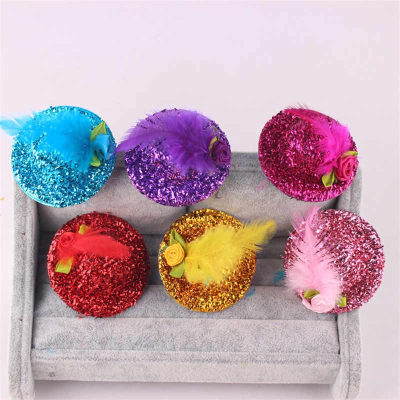 ¡Producto en oferta! Pasadores de pelo bonitos con forma de sombrero para bebés y niñas, pinza de pelo brillante para graduación, sombrero para niños, accesorios de flores con plumas para el pelo, horquillas