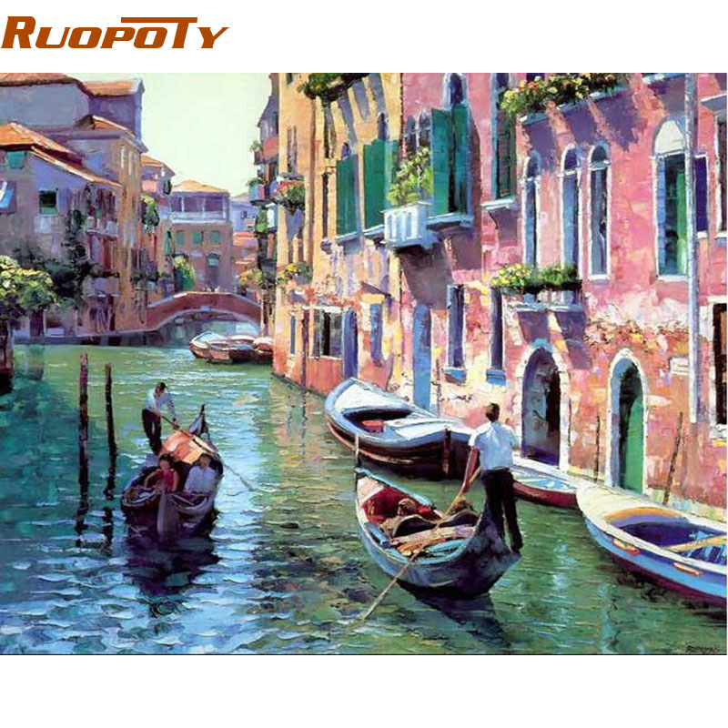 RUOPOTY Frame Venice Landscape DIY Painting By Number Home Decoration Handpainted Modern Oil Painting On Canvas Wall Art Picture