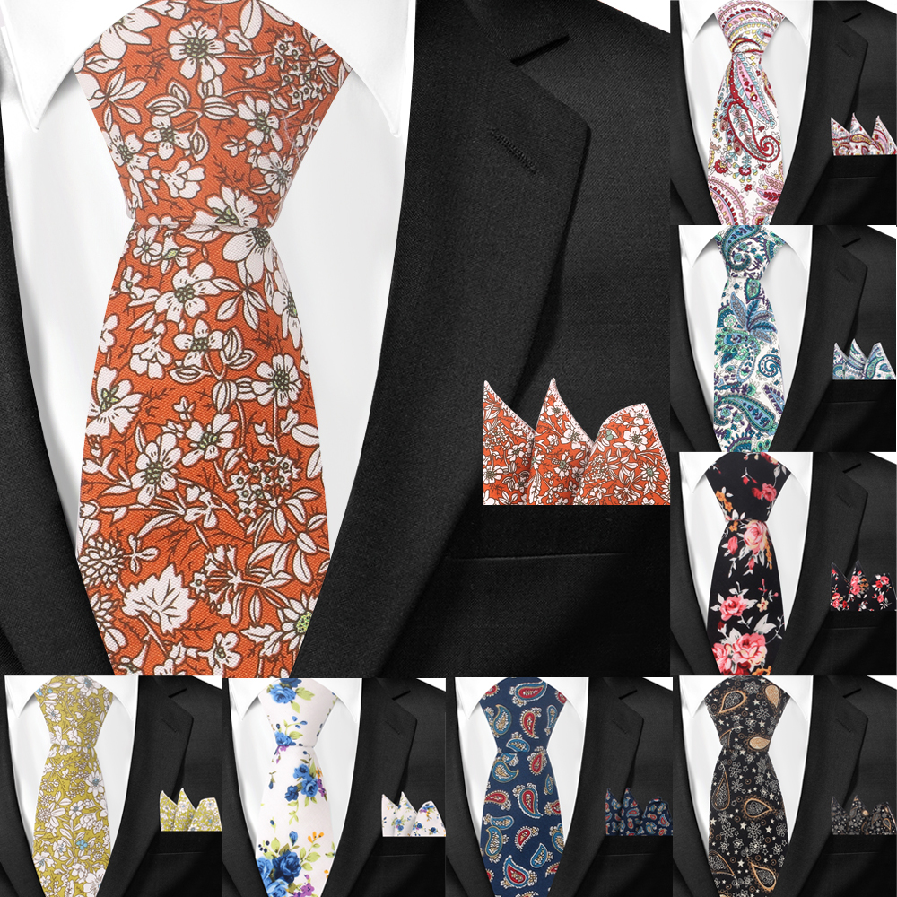 Men Tie Paisley Classic Cotton Neckties And Hanky Set For Men Formal Floral Print Ties For Wedding Party Groom Neck Ties