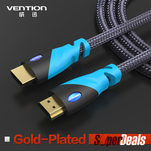 New 2014 Gold Plated Black Premium 3FT Round HDMI Cable 1M 3D 1.4V 1080p 4K For ps3 xbox appletv HDTV