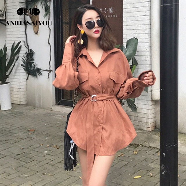 Retro womens tops and blouses autumn new versatile chic long women's shirt collar Korean temperament trendy Blouse with belt