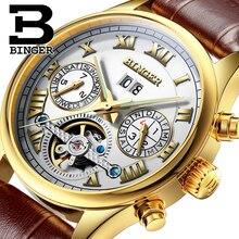 Швейцария БИНГЕР часы мужчины luxury brand Tourbillon сапфир световой несколько функций Механические Наручные Часы B8602-9