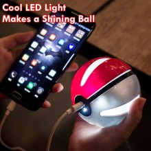 Pokeball Power Bank Pokemon Go Travel Battery Charger 10000mAh LED Battery Universal Charger for Andriod IOS + Pokemon Sticker