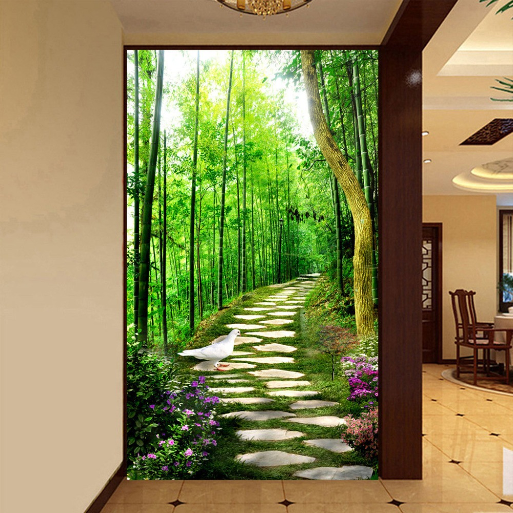 3d mural wallpaper custom size bamboo forest small road for Murales para pared