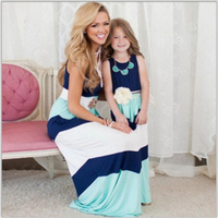 Summer Mommy and Me Family Matching Mother Daughter Dresses Clothes Striped Mom Dress Kids Child Outfits Mother Sister Baby Girl