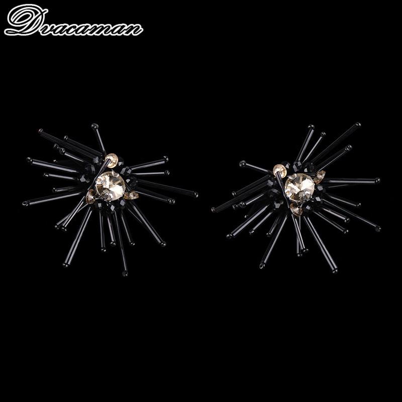 Dvacaman Classic Big Black Flower Stud Earrings For Women Boho Special Design Charm Stud Earrings Hot Sale Vintage Maxi Jewelry