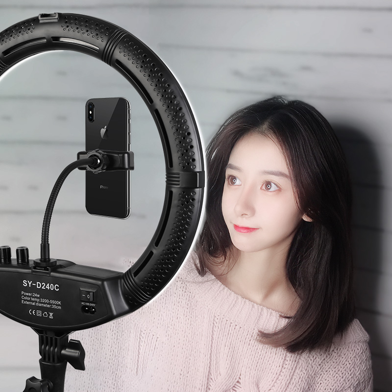 Photo Studio 16 Ring Light 60W 448PCS LED Stepless Adjusted 3 Colors Selfie Lighting with Tripod Phone Holder Ball head