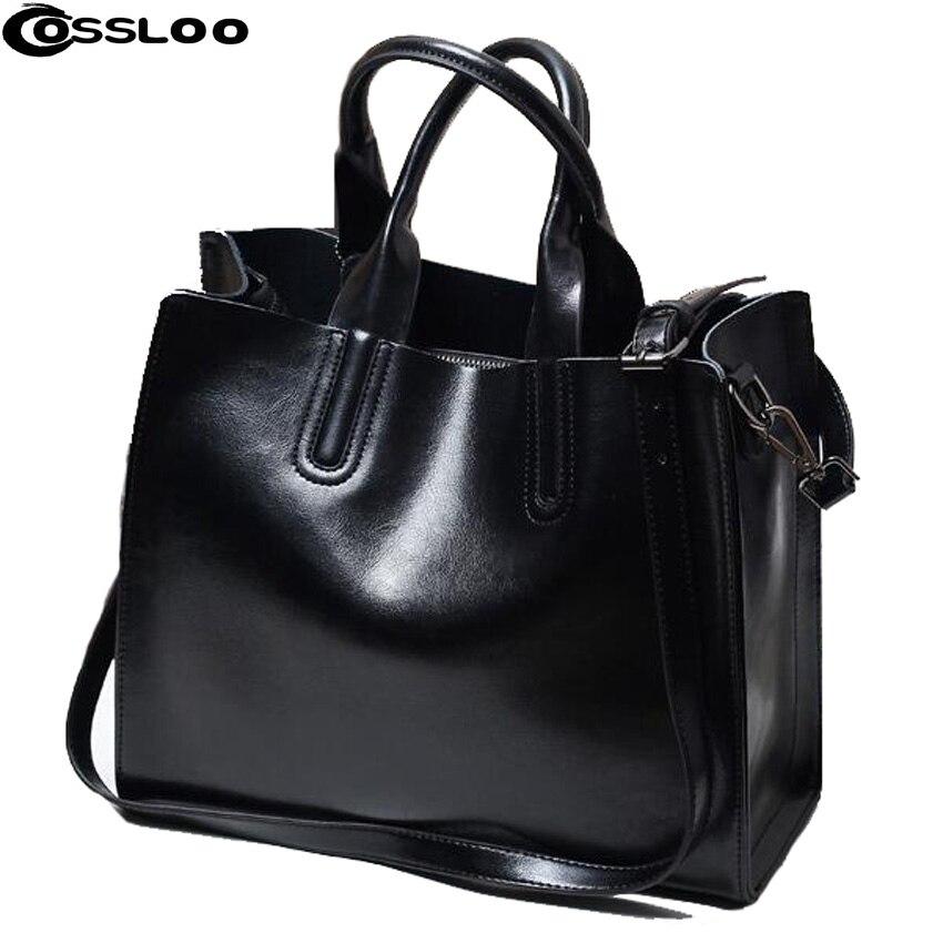 цены на COSSLOO Top Quality Leather Bag Fashion Portable Handbag Bolsas Femininas Burnished Cross-body Crossbody Shoulder Bags Tote в интернет-магазинах