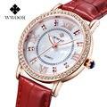 Marca de Fábrica superior Checa Diamantes Vestido Reloj Señoras Reloj de Pulsera de Cuero Genuino de Las Mujeres de Cuarzo Rosa de Oro Relojes de Lujo Relogio Feminino