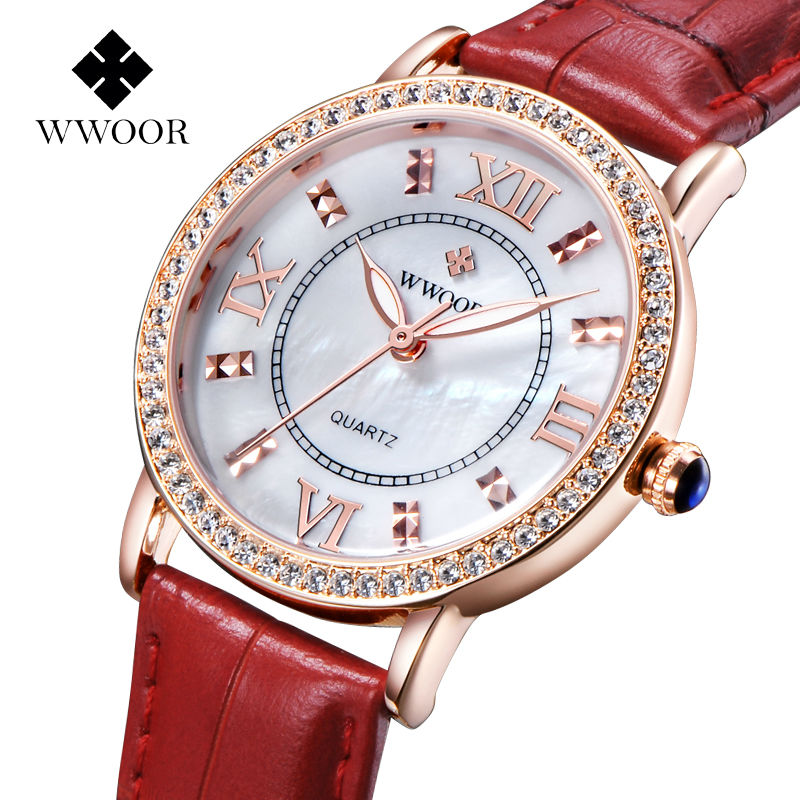 все цены на Top Brand Czech Diamonds Dress Watch Ladies Luxury Quartz Rose Gold Watch Genuine Leather Wrist Women Watches Relogio Feminino