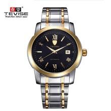 Marca de Relojes de lujo TEVISE Automáticos Hombres Mecánicos Relojes de Acero Horas Calendario Reloj Impermeable del Reloj Para Hombre Relojes de Pulsera