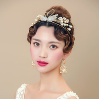New Bride Fashion Delicate Golden Rhinestone Hair Accessory Swan Pearl Hair Bands With Earrings Wedding Jewelry