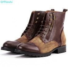 QYFCIOUFU High Quality Genuine Leather Men Martin Boots Autumn Winter Classic Work Ankle Boots Shoe Vintage Splice Chelsea Boots цена в Москве и Питере