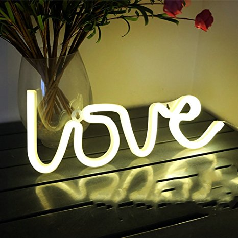 Love Sign Shape LED Neon String Night Light USB Charging or Battery Power Decoration Lamp Pink Warm White
