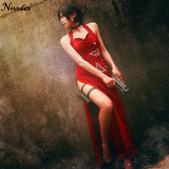 New Resident Evil Ada Wong Cosplay Costumes Sexy Red Cheongsam Dress Uniform Party Halloween Costumes For Women Custom Make