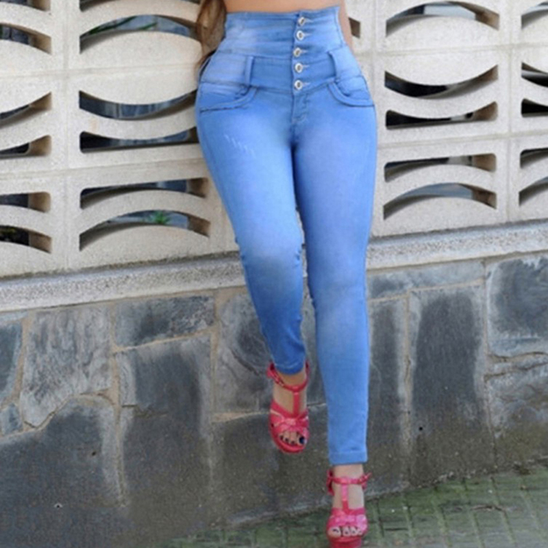 Jeans Beautiful 1 Pc Dark Blue Trousers With Pocket 5 Sizes Women High Waist Jeans Fashion Stretchy Button Fly Denim Skinny Pants