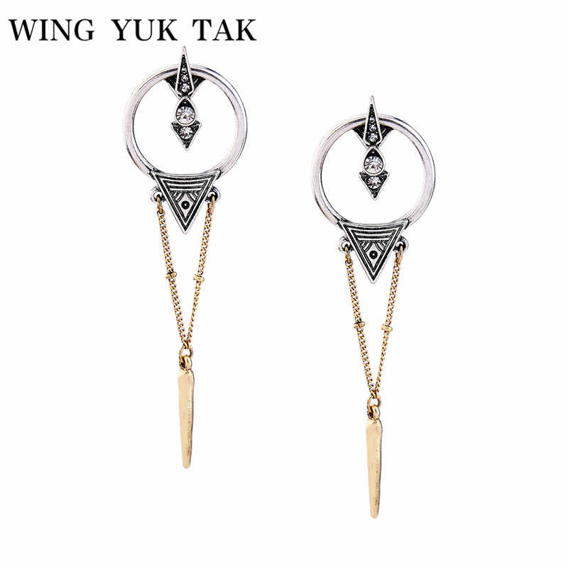 wing yuk tak 2018 Fashion Vintage Silver Color Statement Cool Rivet Ear Punk Earrings For Women Brincos Bijoux Femme Gifts
