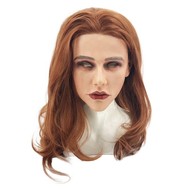 Realistic SiliconeWonderful Female Mask Party Crossdresser With Brown Wig for Man CrossdresserRealistic SiliconeWonderful Female Mask Party Crossdresser With Brown Wig for Man Crossdresser