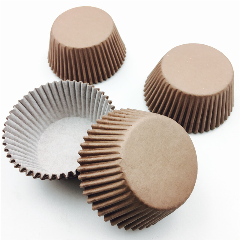 100pcs Brown Pure Color Paper Cake Cupcake Liner Baking Muffin Box Cup Case Party Tray Cake Mold Cake Decorating Tools