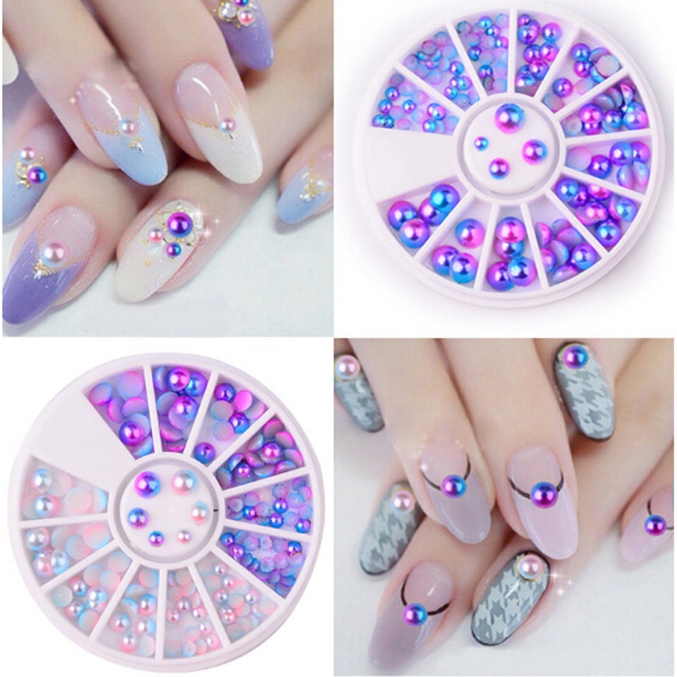 Mixed Size Half-beads Pearls for Nails Decoration Ongle 3D Nail Art Jewelry In Wheel Stones for Nail Design Manicure MJZ0095 24 pcs chic mixed pattern design nail art fake finger nails