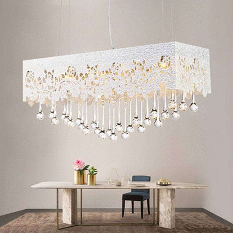 Modern Indoor LED Pendant Lamp Crystal Dining Room Droplight Fixture Livingroom Contracted Chandelier AC90-260V lighting fixture american countryside crystal chandelier 4 heads e14 indoor lighting pendant lamp dining room chandelier lamps 220 110v wpl152