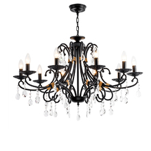 Metal Candle Chandelier for Dining Room European Crystal Chandeliers Lighting Fixtures Bedroom Retro Industrial Lamp