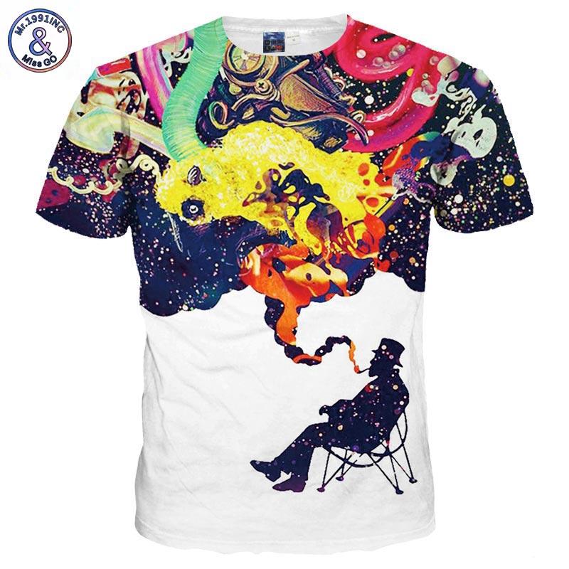 Mr 1991INC New Fashion 3d T shirt Men Women Tees Funny Print Colorful Smoke Smoking Summer