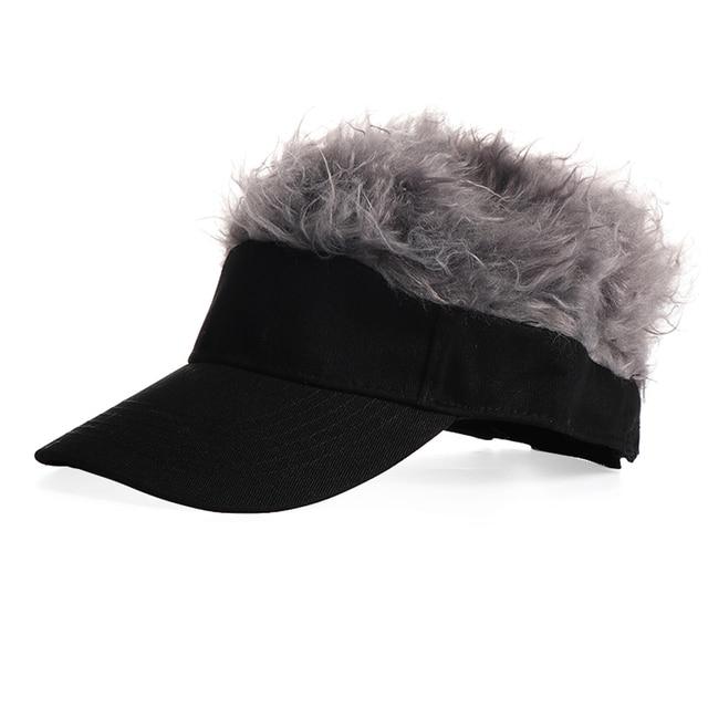 Novelty Men Baseball Cap Fake Hair Sun Visor Hats Men s Cosplay Toupee Wig  Funny Hair Loss Cool Gifts Golf Cap 2019 New 25b2a06c2a8